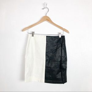 Very J vegan leather black and white skirt
